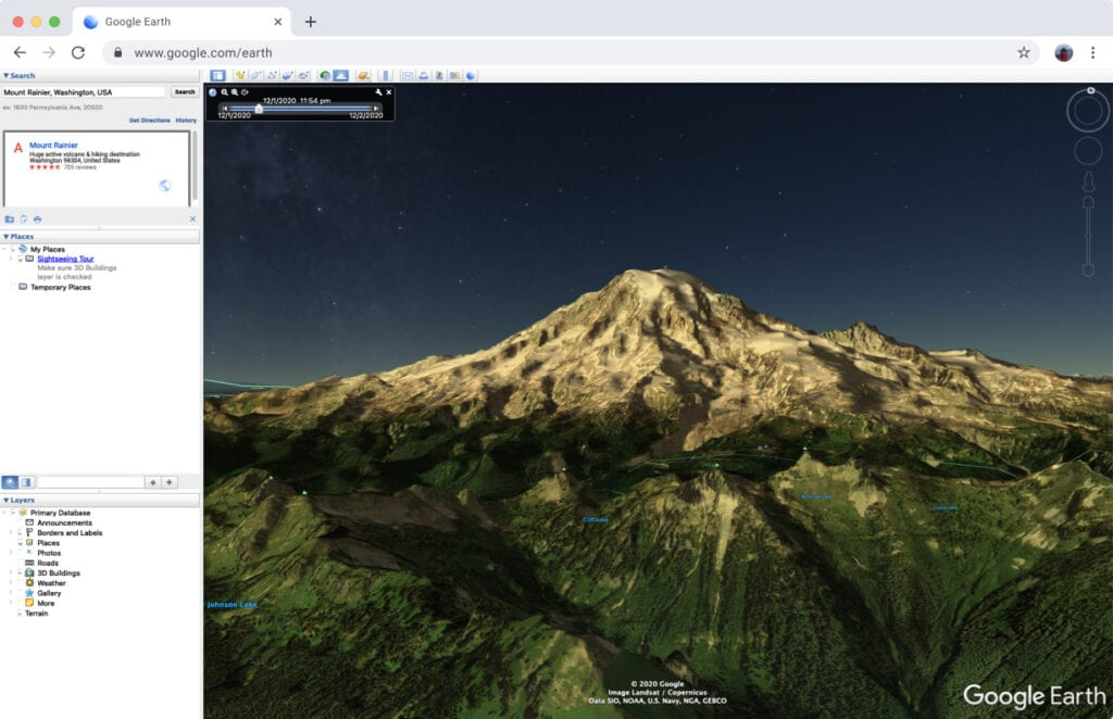 Location scouting on Google Earth
